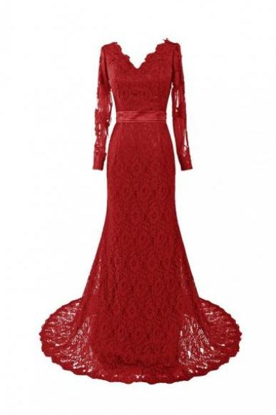 Elegant Burgundy V-neck Mermaid Sweep Train Lace Evening Dress With Sash