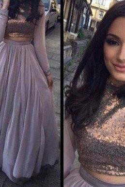 A-line Prom Dress,Two Pieces Prom Dresses,Long Sleeve Prom Dress,High Quality Prom Dresses