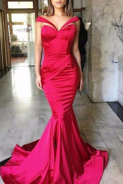 Newest Hot Pink Satin Long Mermaid Special Design Long Prom Dresses