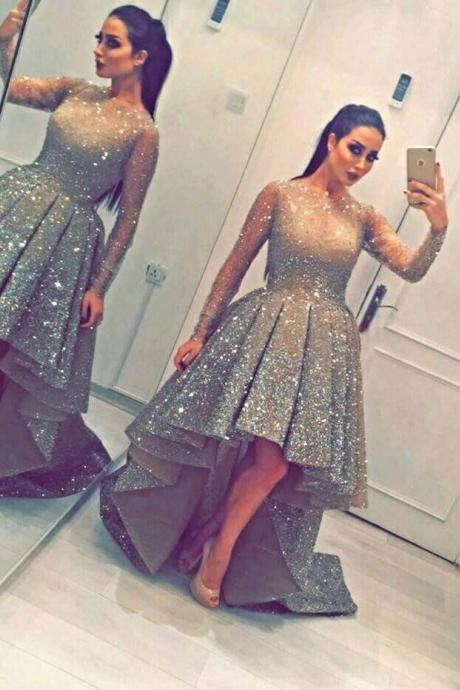 Luxurious Sequins Party Long-Sleeves Beadings Hi-Lo Homecoming Prom Dress