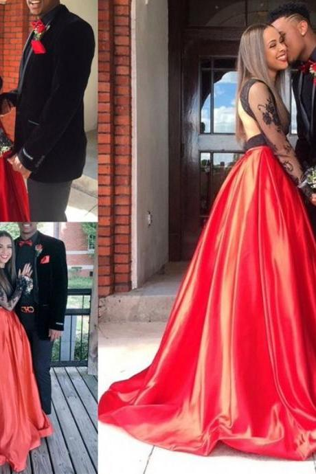 Two Pieces 2017 Black Girls Prom Dresses A Line Jewel Long Sleeves Plus Size Red Satin