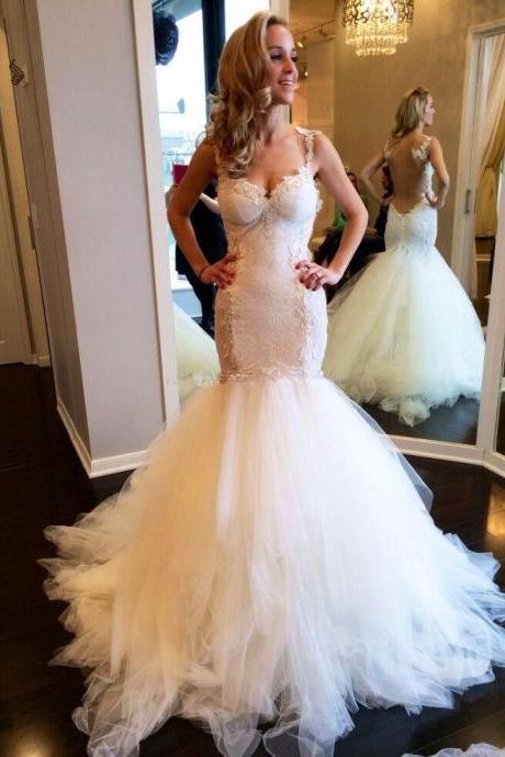 Mermaid Lace Charming Wedding Dresses,Long Wedding Dress Custom Made Wedding Gown