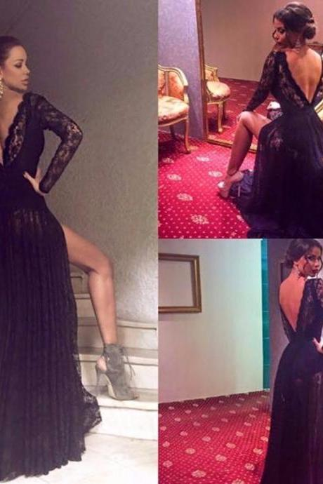 Sexy V Neck Black Lace Long Sleeve Prom Dresses 2017 Custom Made Side Slit Evening Party Dress