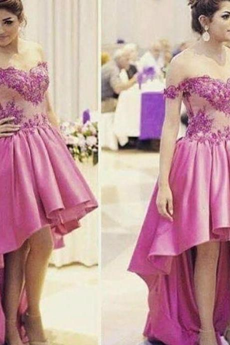 2017 Prom Dresses Long Strapless Sleeveless Button Hi-Lo Satin with Lace Asymmetrical Evening Dresses
