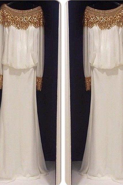 Gold Beaded Long Sleeves Chiffon Evening Dresses Dubai Kaftan Dress