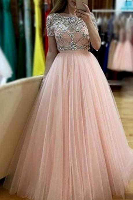 Real Photos Short Sleeves Ball Gown robe de soiree Crystal Beading Backless Pink White Colors Tulle Evening Prom Dresses