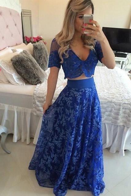 Sexy Two Piece Royal Blue Prom Dress 2017 Appliques Short Sleeve