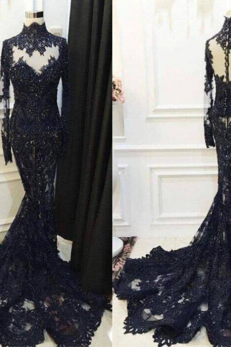 High-Neck Beaded Long-Sleeve Mermaid Appliques Lace Sequined Black Prom Dress