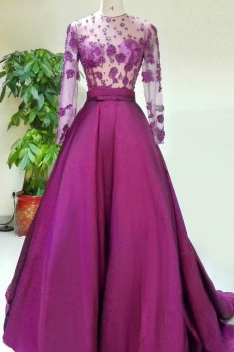 Lilac chiffon see-through long sleeves applique beading long evening dresses