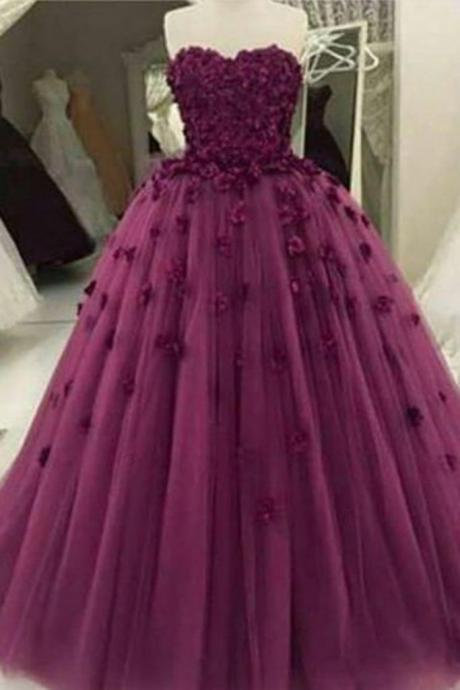 Burgundy organza handmade flowers applique sweetheart ball gown dresses
