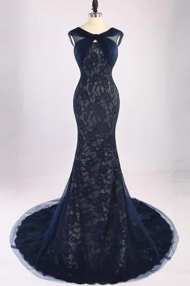 Dark Navy Backless Lace Tulle Court Train Ruffles Trumpet/Mermaid Prom Dress