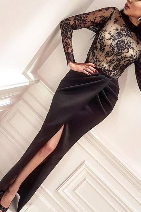 Inspired Yousef Aljasmi Dubai Black Evening Dresses 2017 High Neck Lace Mermaid Slit Long Sleeve Ladies Arabic Evening Gowns