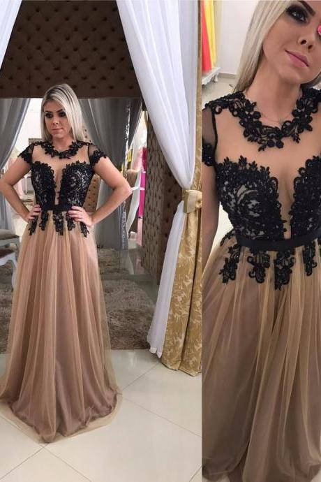 Elegant Short Sleeve Black Lace Evening Dresses Long 2017 Floor Length Appliques Evening Gowns Formal Dress