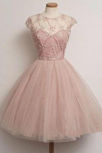 short Homecoming Dresses, blush pink tulle Prom Dresses, party Dresses