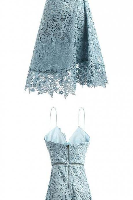 Light Blue Lace Plunge V Spaghetti Straps Knee Length A-Line Dress