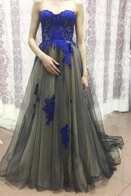 Dark Grey Tulle Royal Blue Appliqued Prom Dresses,Strapless Prom Gowns,Long Formal Dresses