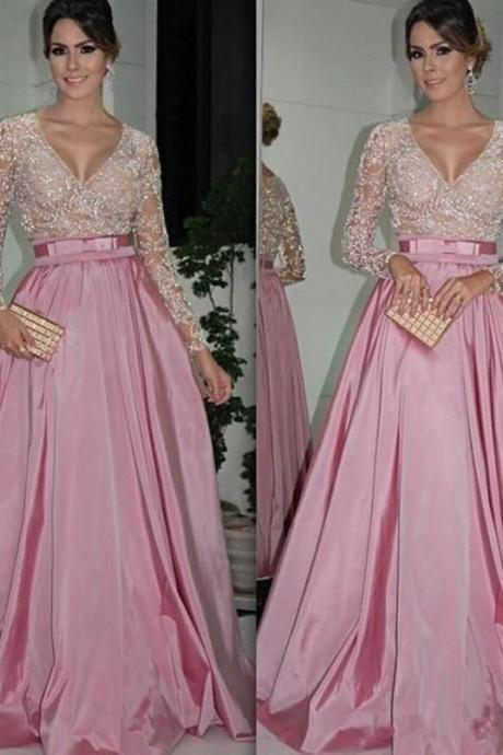 V-Neck Long Sleeve Pink Lace Satin Prom Dresses,Evening Dres