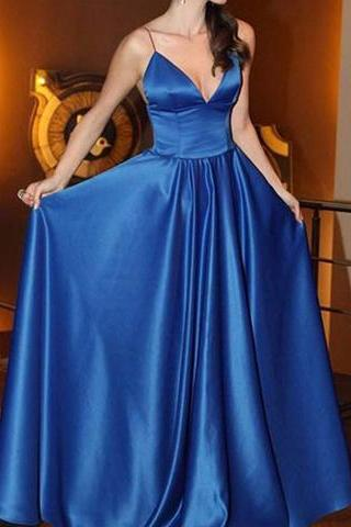 Royal blue v neck satin long prom dress, evening dress