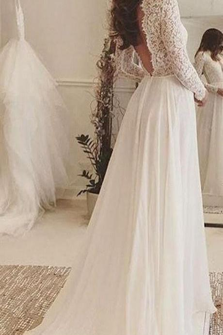 Bateau Lace A-line Wedding Dress with Long Sleeves and V-Back