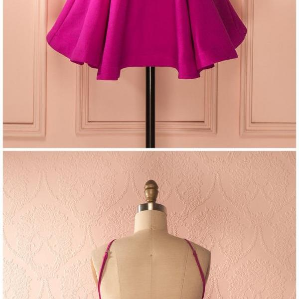 A-line Backless Jewel Pleated Fuchsia Short Homecoming Cocktail Dress