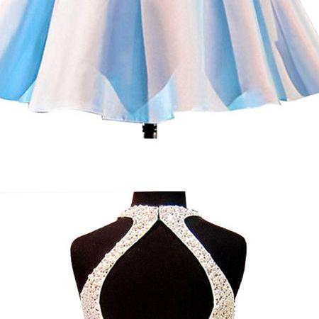 A-line Jewel Keyhole Open Back Pearls Short Homecoming Cocktail Dress