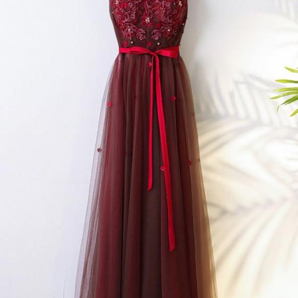 Burgundy v neck lace tulle long prom dress, bridesmaid dress