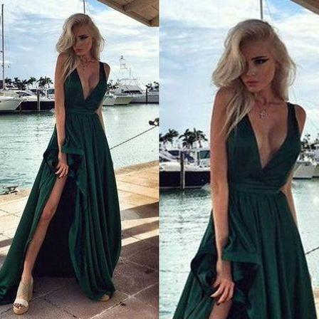 Hunter Green Elegant Long Prom Dresses, Side Split V Neck Backless Evening Gowns 2019,Party Dress,Simple Prom Dresses